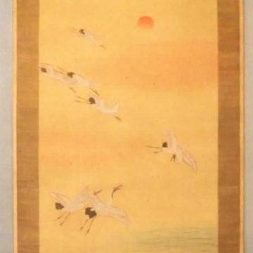 Cranes on the Beach Scroll