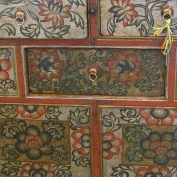 Tibetan Cabinet Floral Detail