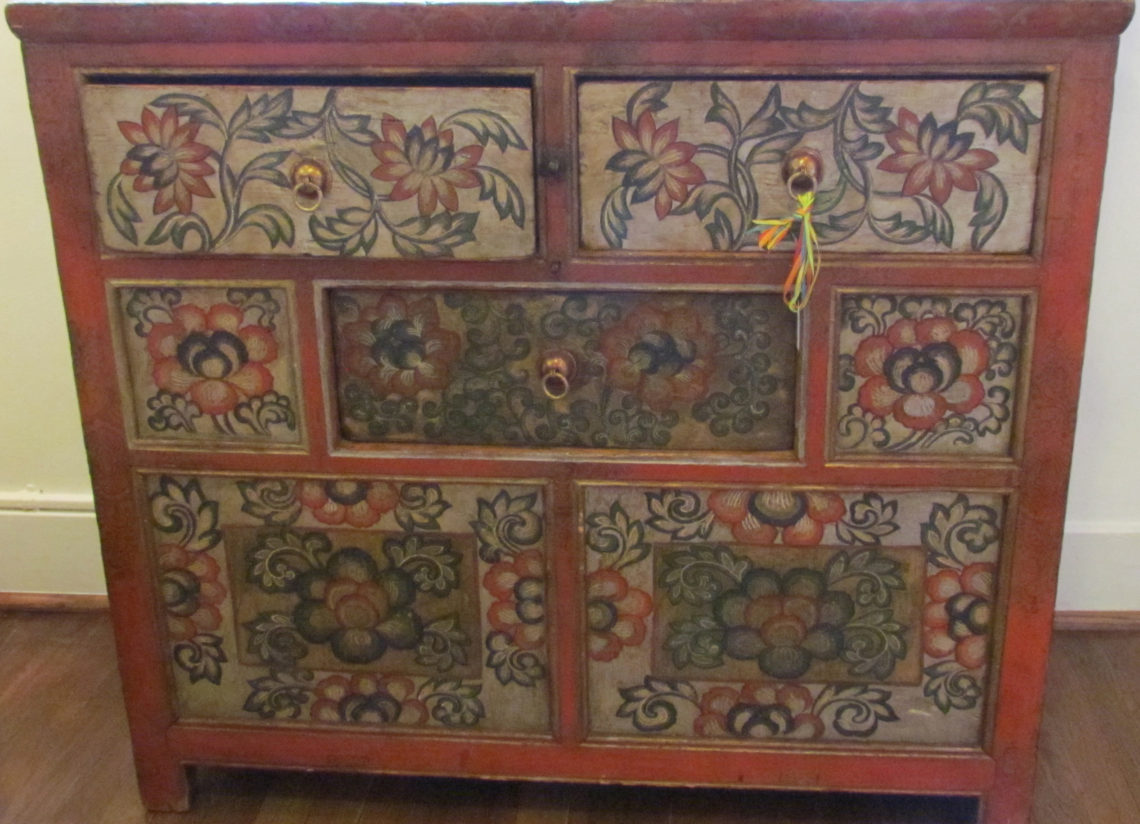 Beau Tibetan Cabinet Floral Close