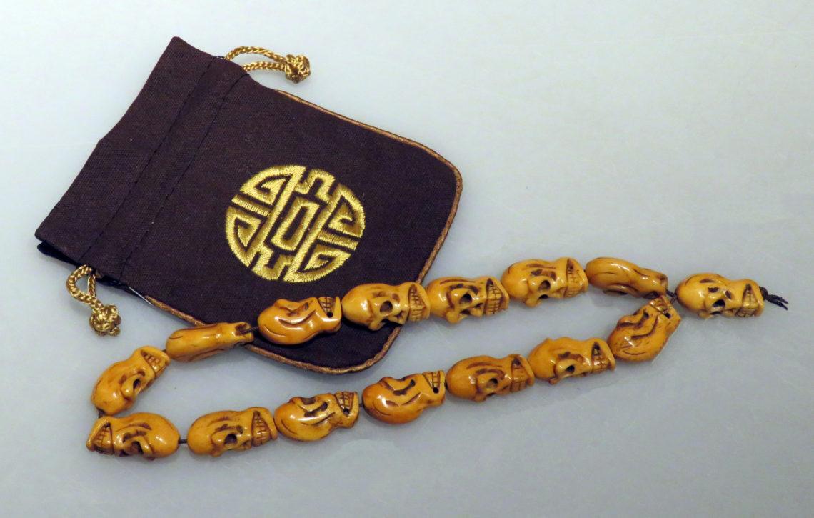 Rare Tibetan Skull Yak Bone Prayer Beads Abbate Fine Art